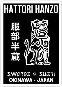 creamrinhz (3 PCs/Pack) Kill Bill Hattori Hanzo Swords and Sushi 3x4 Inch Die-Cut Stickers Decals for Laptop Window Car Bumper Helmet Water Bottle