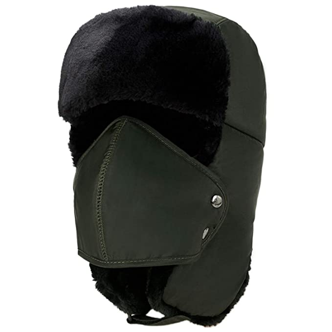 0d11b9d74c7f69 Image Unavailable. Image not available for. Color: Mens Womens Hats Unisex  Warm Bomber hat Trapper Aviator Trooper Ear Flap Winter Ski Hat Mask