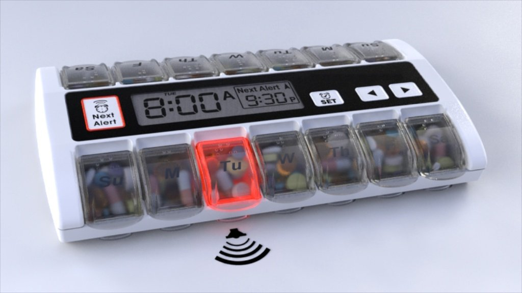 MED-Q Digital Pill Box Organizer, 2 Beep Reminder, LED Alert, BLUE by MED-Q Pillbox Compliance System