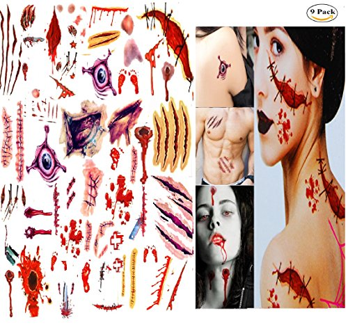 AG-So-So Halloween Tattoos, Scar Wound Temporary Tattoo, 9 Pack Waterproof Horror Realistic Fake Bloody Injury Stitch Scar, Scar Makeup Bleeding Wound Blood for Party Prop, Zombies Cosplay Costume by -