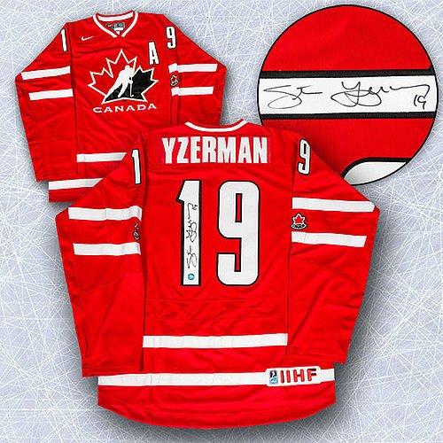 44748e60eb8 Steve Yzerman Team Canada Autographed Nike Olympic Hockey Jersey - Signed  Hockey Jerseys