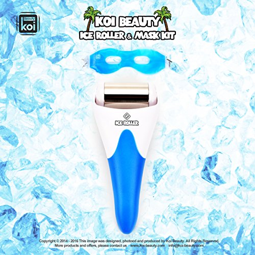 Koi Beauty 2 in 1 Derma Cooling Ice Roller + Sleep Gel Cold Ice Eye Mask Eyepatch (Stainless Steel, Blue)