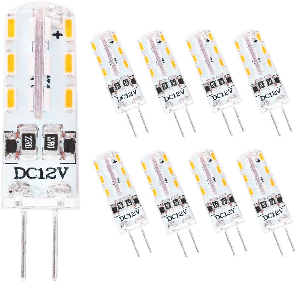 Lámparas LED G4 2W Bombilla,Blanco cálido 3000K,24×3014 SMD LED,lámpara LED bi-pin DC 12V,no regulable(8 pack)