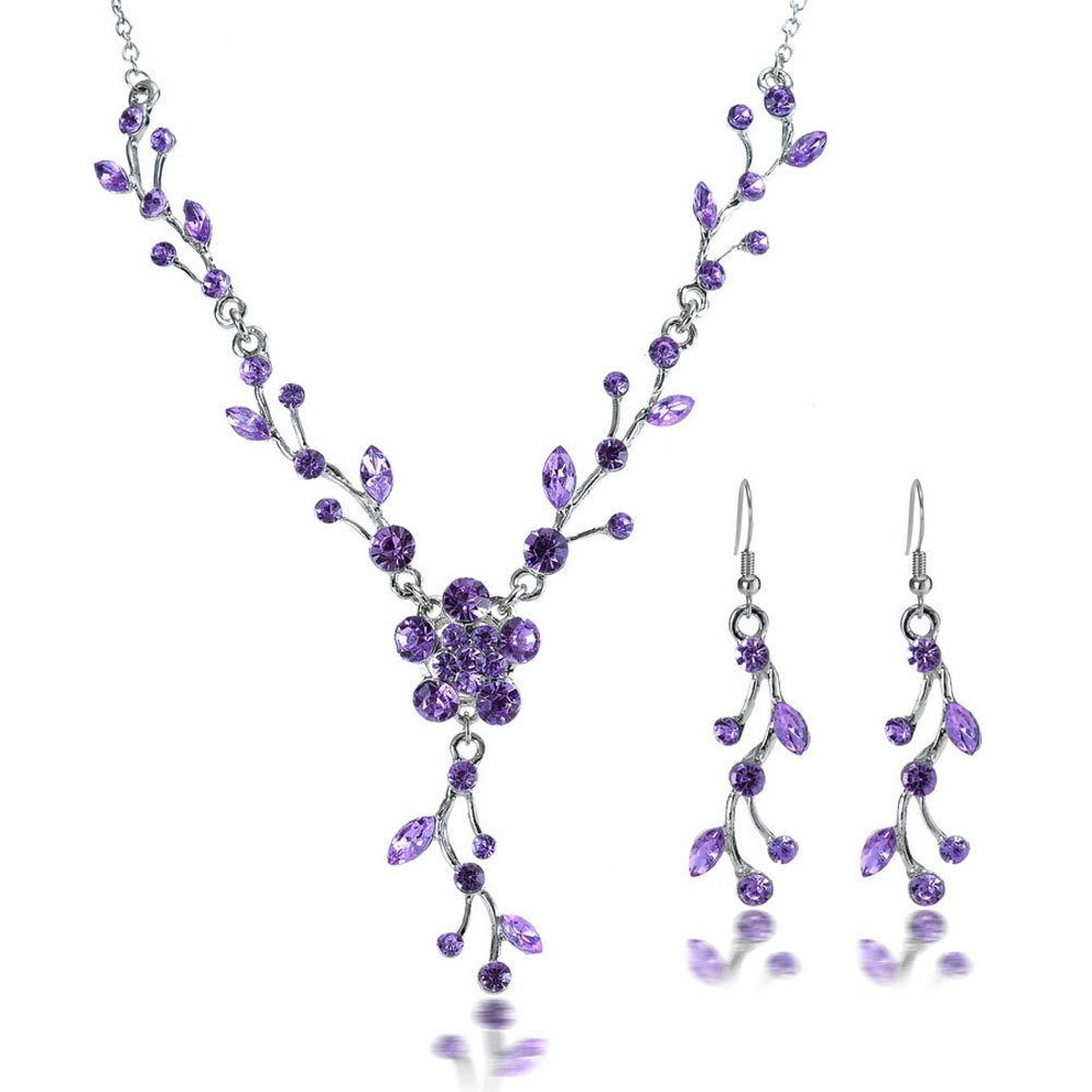 YSTD® Women Wedding Bridal Prom Jewelry Crystal Rhinestone Necklace Earrings Party Set (Purple)
