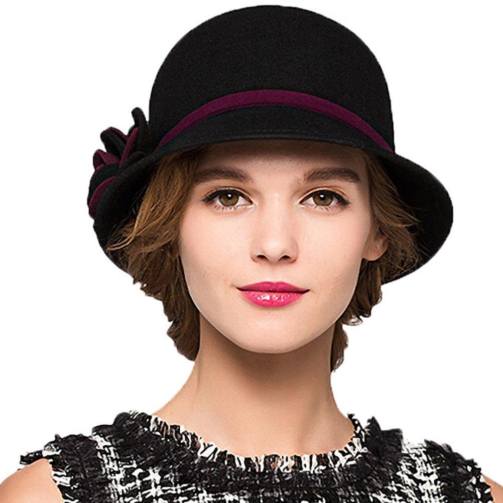 Maitose Trade; Women's Bow Wool Felt Bucket Hat Black