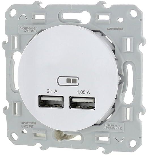 Toma Cargador USB doble Type A Odace color blanco nuevo ...