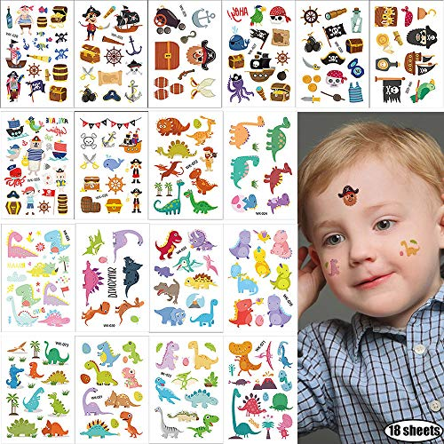 Kids Temporary Tattoos 18 Sheets Small Fake Tattoo Stickers Summer Beach Dinosaur & Pirate Series Body Art Tattoo Supplies Cute Pirated Cannon Powder Jake Captain Decals for Boys Party Accessories from Hary