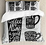 Coffee Duvet Cover Set King Size by Ambesonne, Quotes about Coffee with Take Away Mug Cup Silhouette Drinking Addiction Theme, Decorative 3 Piece Bedding Set with 2 Pillow Shams, Pale Grey Black