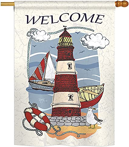 Breeze Decor Lighthouse Shore Coastal Everyday Impressions Decorative Vertical House Flag 28 X 40 Printed In Usa Garden Outdoor