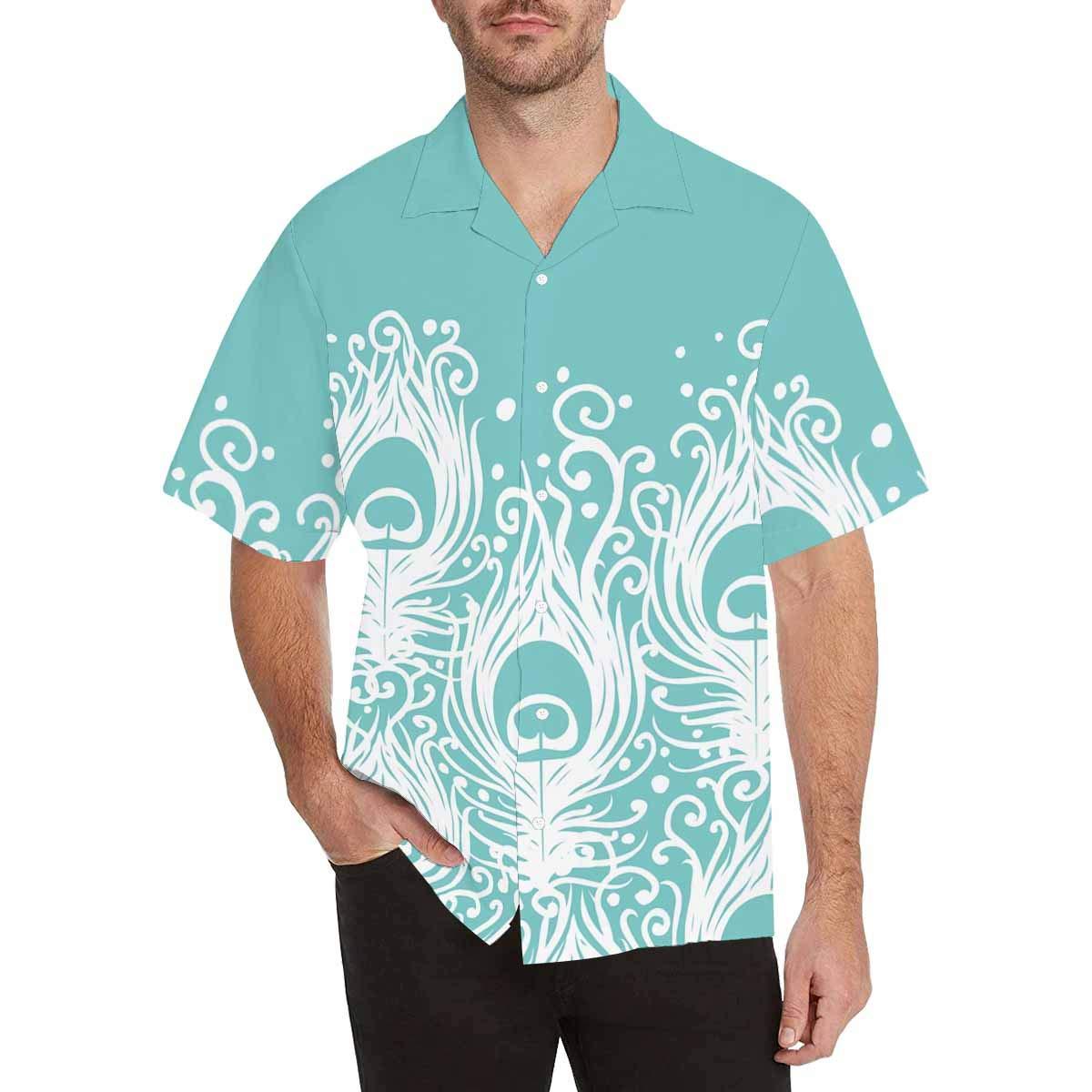 InterestPrint Mens Shirt Soft Peacock Feathers Summer Casual Mens Shirt