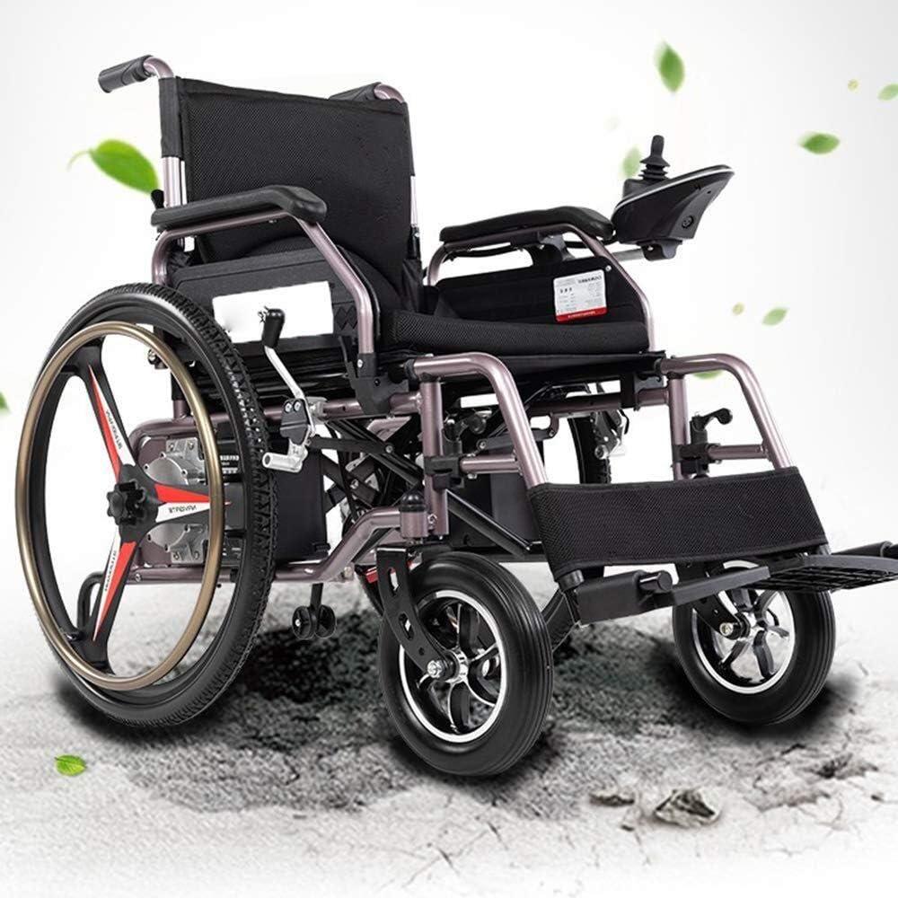 QZDDLY Silla de Ruedas eléctrica, 2020 Mejor Deluxe Doble Plegable de alimentación Compacto Movilidad for sillas de Ruedas Aid, Ligero Plegable Llevar Silla de Ruedas eléctrica con baterías de Litio
