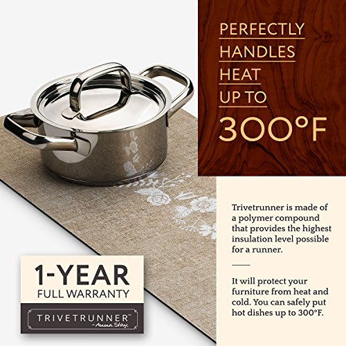 TRIVETRUNNER Decorative Trivet and Kitchen Table Runners Handles Heat Up to 300F, Anti Slip for Hot Dishes and Pots, Protect Furniture Countertops,Dressers and Island Protector(Jute & flowers)