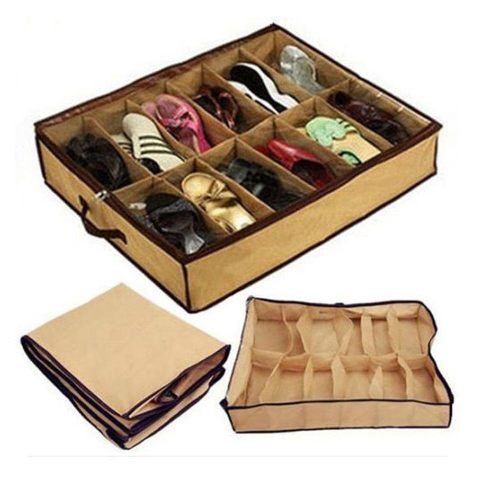 12 Pairs Shoe Organizer Storage Box Holder Under Bed Closetor Women Men Young Kids Adult Home Storage Organizer Shoe Bag pockket Travel Hotel easy portable