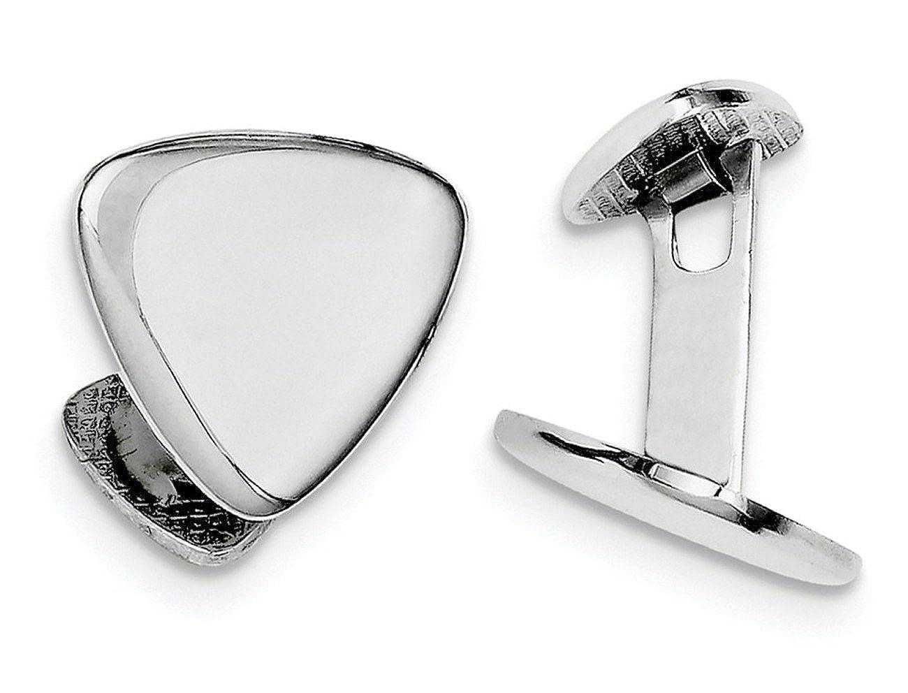 17MM Italian Rhodium-Plated Sterling Silver Triangle Cuff Links
