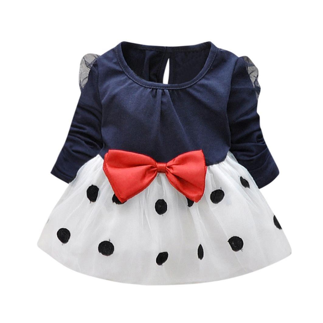 Kolylong Toddler Kids Baby Girls Long-Sleeved Dot Bow Princess Dress Sundress Outfits Clothes by