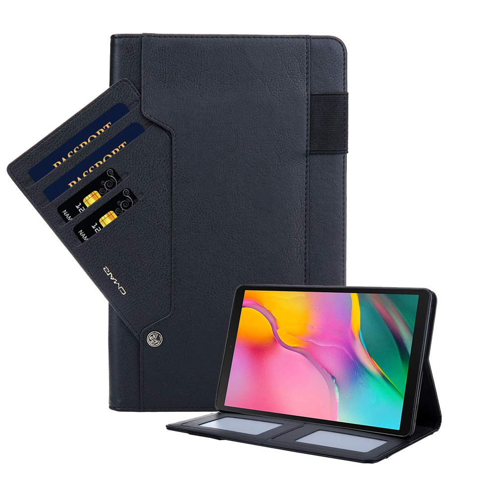 Galaxy Tab a 10.1 Case 2019, PU Leather Smart Stand Protective Case Silicone Cover with Auto Sleep/Wake Function and Card Slots for Galaxy Tab A 10.1 SM-T510 T515 - Black