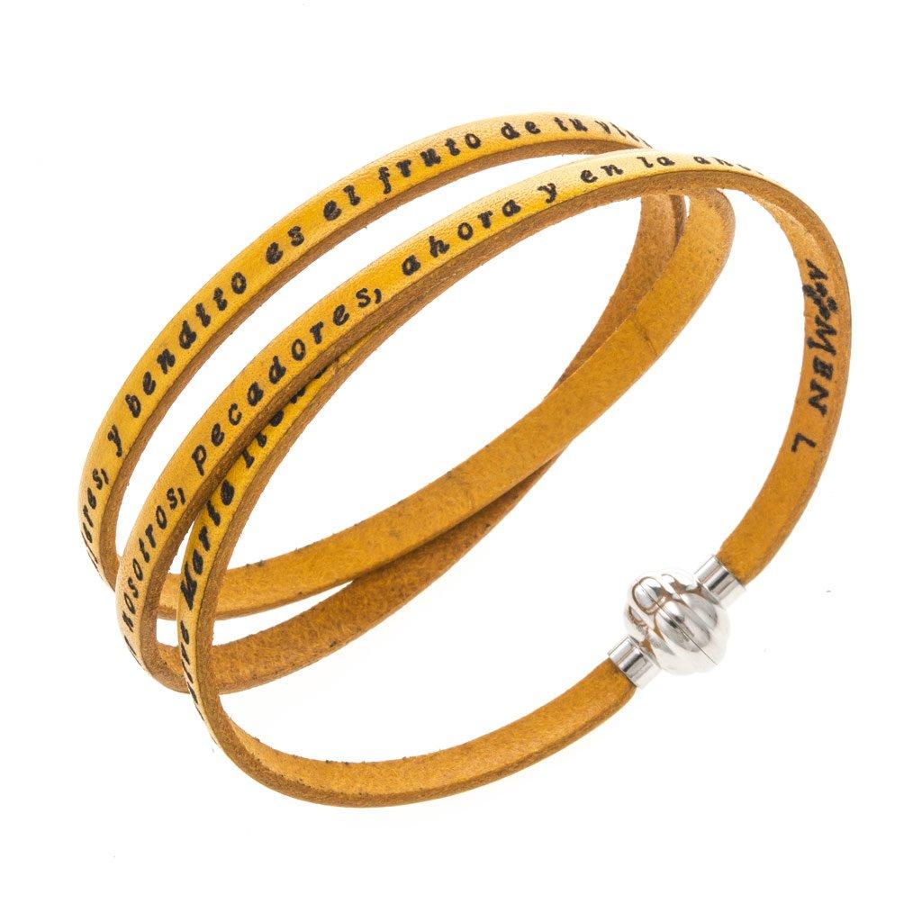 Amen Bracelet in yellow leather Hail Mary SPA, 60 cm (23.64 inc.)