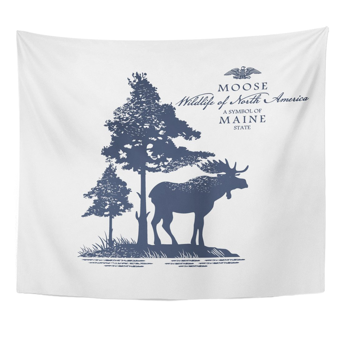 Emvency Tapestry Maine Moose Wildlife of America Blue Color Animal Fauna Home Decor Wall Hanging for Living Room Bedroom Dorm 50x60 Inches