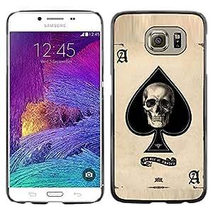 LECELL--Funda protectora / Cubierta / Piel For Samsung Galaxy S6 SM-G920 -- Ace Skull Poker Gambling Cards Las Vegas --
