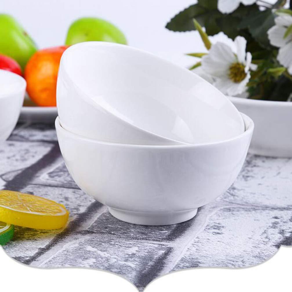 4 pulgadas Hemoton 6 piezas cuencos de porcelana blanca cuencos de cereal cuencos de sopa cuencos de arroz contenedor de cereales para restaurante en casa