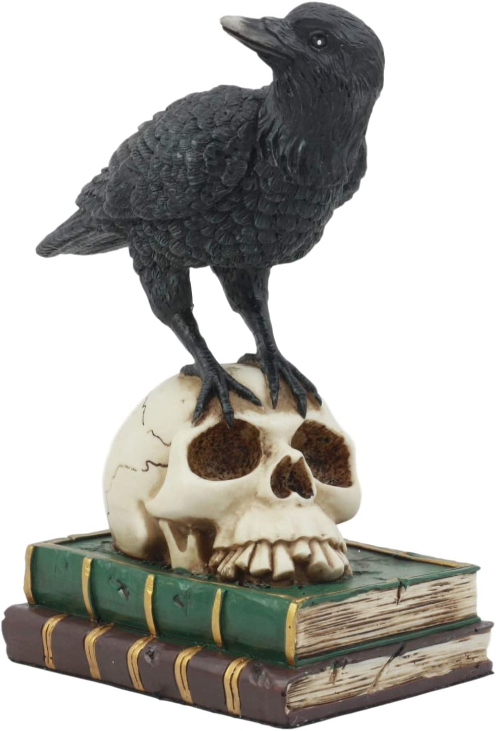 "Ebros Edgar Allan Poe Quoth The Raven Perching On Skull of Bibliography Statue 7.25"" Tall Ravens Crows On Books Ossuary Macabre Figurine"