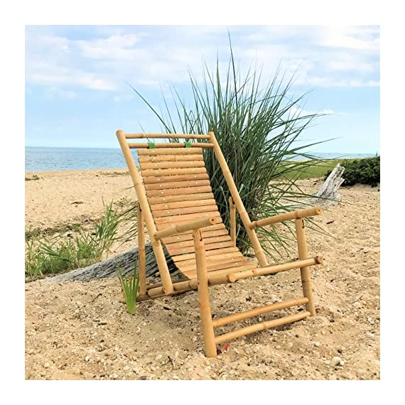 Whole House Worlds Key West Classic Sling Lounge Chair, Natural Bamboo with Slats and Canvas, Tortoise Shell Finish, 4 Adjustable Positions, Fold-Away, 46 1/2 Inches, by WHW - A TOUCH OF THE TROPICS Enjoy high style looks with low-energy vibes in the cozy Key West Classic Sling Back Beach Chair. Loaded with everything you could want in a relaxing beach chair, it brings together incredible comfort, a solid bamboo frame that folds easily for carrying, and a gorgeous slated back. HANDCRAFTED of high quality bamboo by our expert artisans, natural bamboo is cut, sanded and finished with a clear varnish. On the back, 2 thick and sturdy canvas strips hold each of the 28 slats in place and allow them to gently support your back as you sit down. GREAT SIZE, this chair measures as follows: 46 1/2 D x 23 5/8 W x 29 1/8 H inches. - patio-furniture, patio-chairs, patio - 61YCSj YiEL. SS570  -
