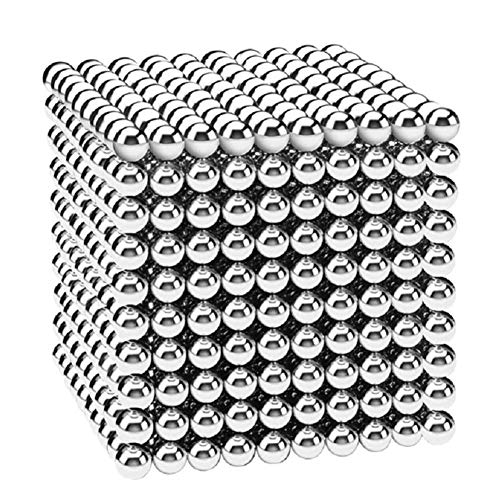 HBDeskToys Fidget Ball Puzzle,Brain Teasers for Adults,Stress Relievers for Adults,Sculpture Building Blocks Toys for Intelligence Learning -Office Toy (Shiny Silver,1000 pcs,3 mm) ()