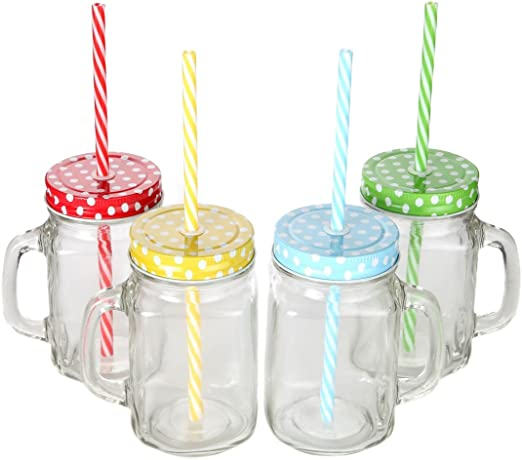 Set OF 4 Clear Glass Jar Mugs with Handles 16 oz New