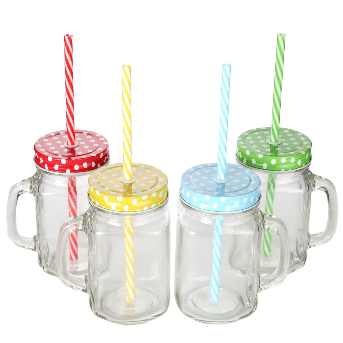 Lily's Home Old Fashioned Mason Jar Mugs with Handles, Polka Dot Lids and Matching Reusable Plastic Straws, Great as Old Fashion Drinking Glasses at BBQs and Parties, Clear (16 oz. Each, Set of 4) by Lilyshome (Image #1)