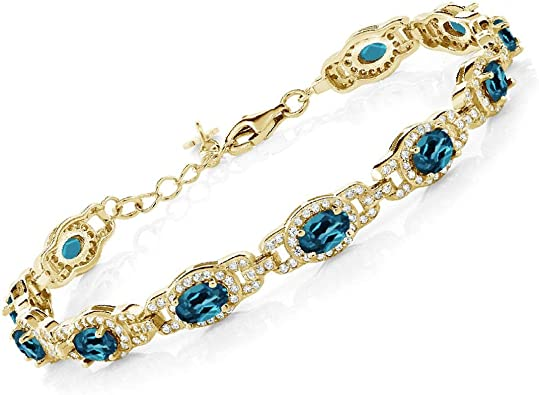 Gold Plated Gemstones Bracelets Jewelry CZ Bangle Sky Blue Topaz Bangle