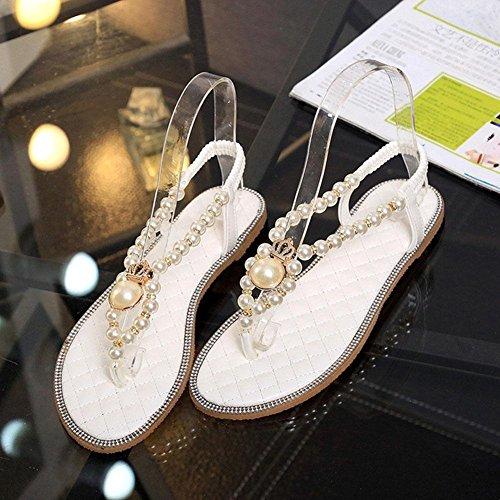 La Sra romanas sandalias de la perla del diamante sandalias de tiras planas mujeres voltean plana con estudiantes White