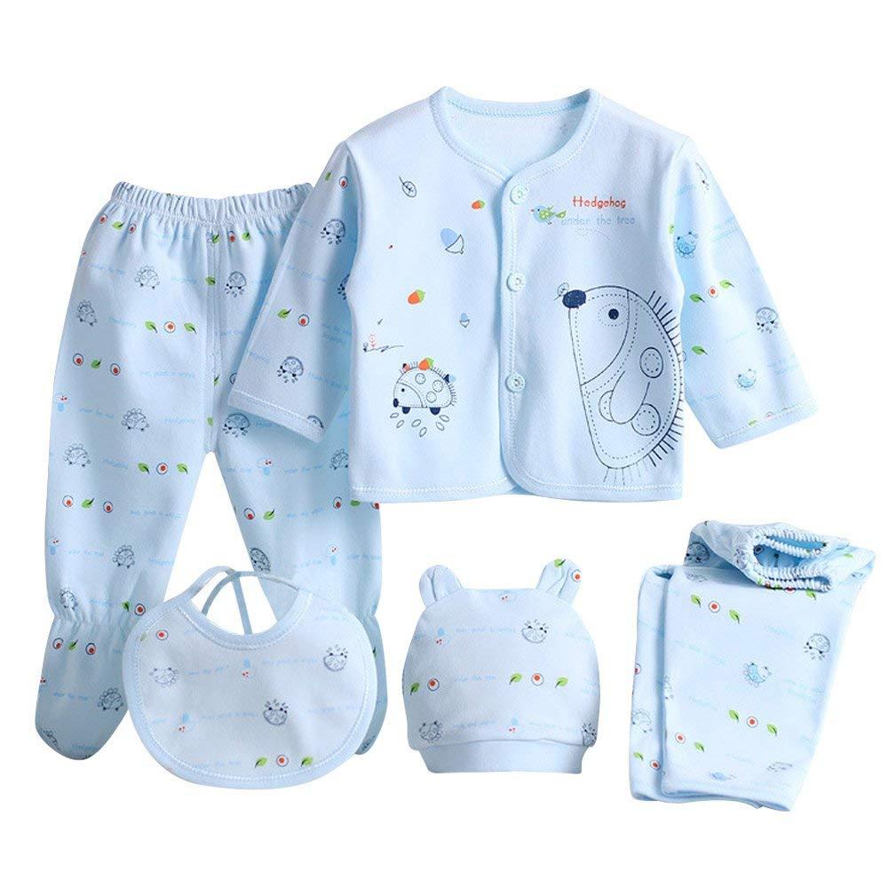 Nest Home 5PCS Boy Girl Newborn Cotton Warm Tops Pants Suits Infant Clothes Sets