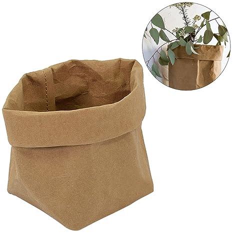 BESTOMZ Bolsas de Papel Kraft Contenedor de Papel Lavable Graden Bolsas de Plantas Decorativas Organizador Mantas