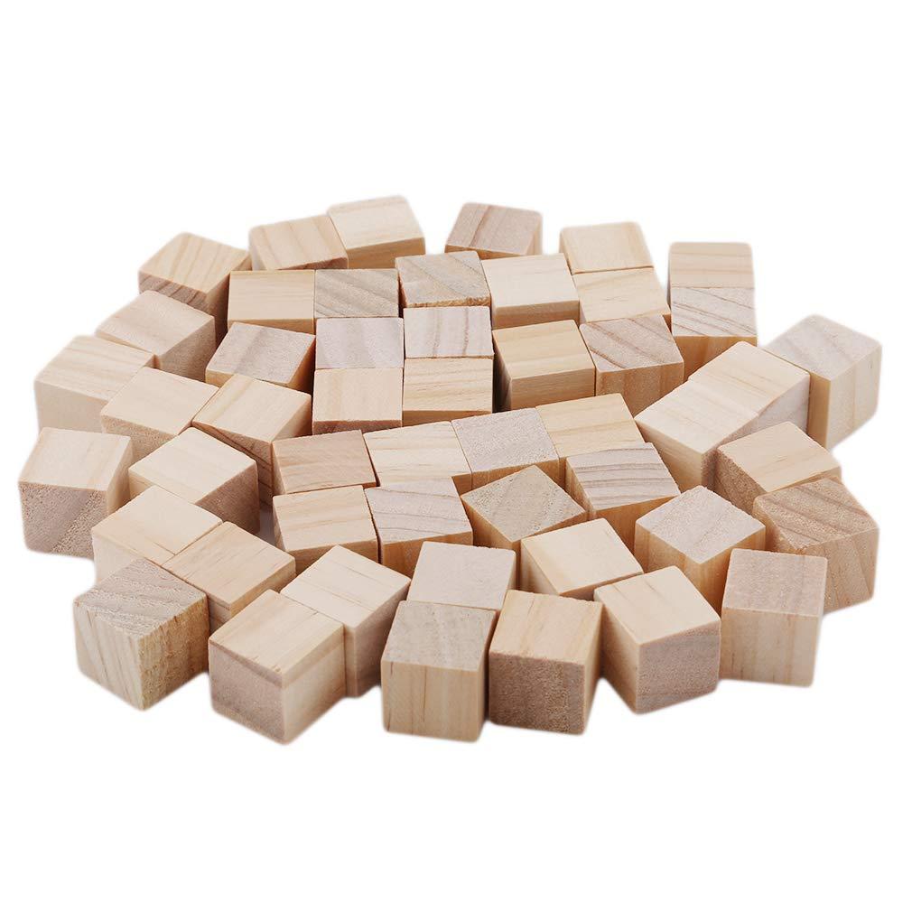 50 pcs//Paquet Couleur du Bois 1.5cm SUNSKYOO Blocs de Construction carr/és Puzzle Cube de Bois Blocs de Bricolage Faisant de lartisanat