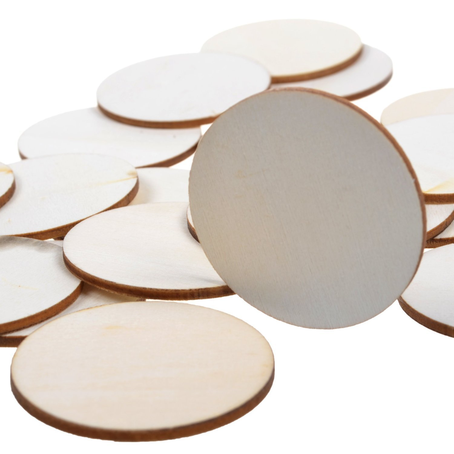 """BCP 40-piece 2"""" Round Disc Unfinished Wood Cutout Circles for Creating Jewelry Painted Christmas Tree Decorated/craft Projects"""