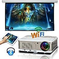 Wireless LCD Projector 2600 Lumen Home Cinema HD Projectors, HDMI/USB/Ypbpr/Composite Video/VGA/AV for Kodi DVD Tablet Smartphone XBOX Netflix Blu-ray