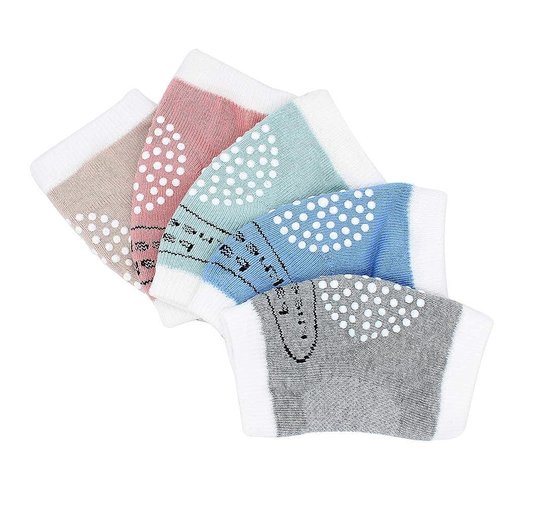 Hillento bambino unisex strisciando ginocchiere antiscivolo, gomitiere bambino di ginocchio strisciante protecter, 5 coppie (blu, verde, rosa, grigio, cachi)