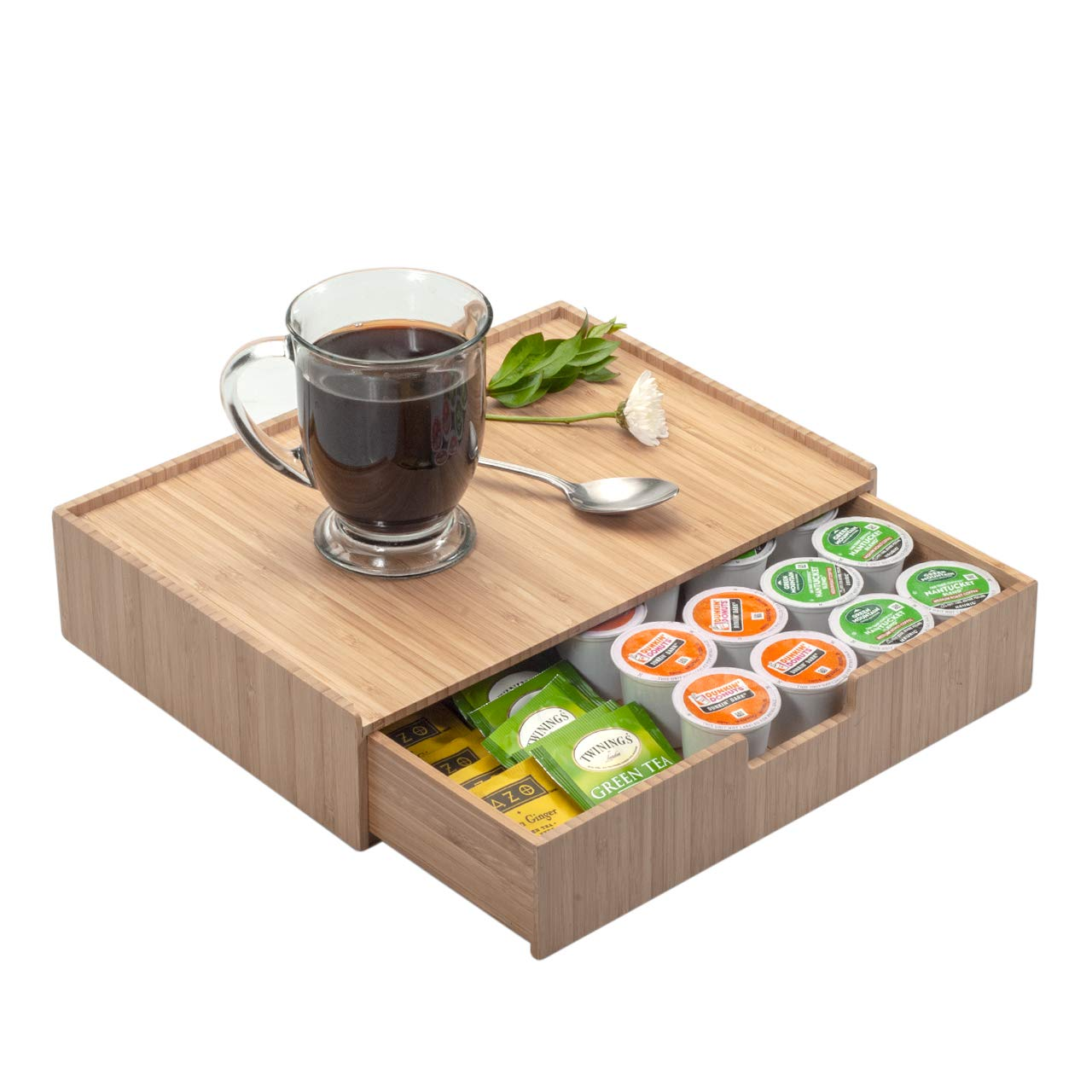 Bamboo Drawer Organizer to hold K-Cups, Coffee, Tea, Espresso Pods, Condiments and Accessories, Perfect for Kitchens & Office Break Rooms