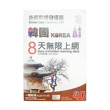 3 Tarjetas SIM para Tarjeta SIM de Corea 8 días precarga 10 ...