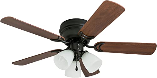 Prominence Home 50864 Whitley Hugger Ceiling Fan with 3 Light Fixture, 42 LED Indoor Low-Profile Flush-mount, Warm Bronze