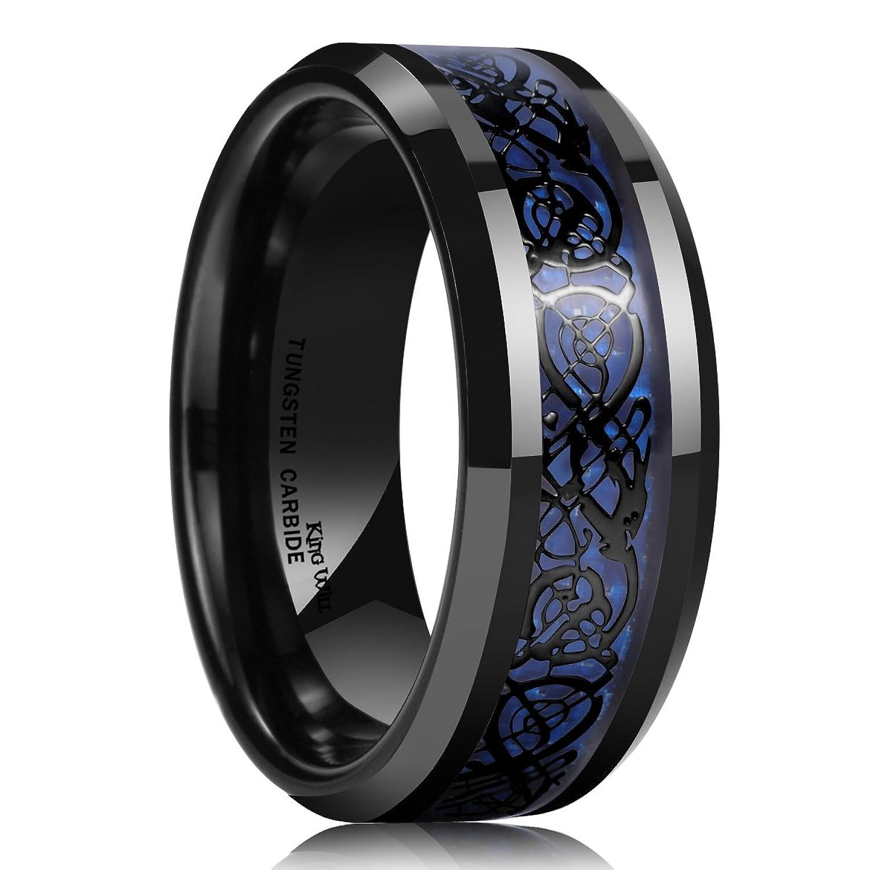 carbon fiber wedding bands King Will DRAGON Men s 8mm Blue Carbon Fiber Black Celtic Dragon Tungsten Carbide Ring Wedding Band