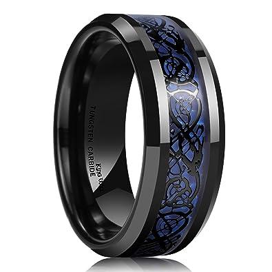 King Will DRAGON Mens 8mm Blue Carbon Fiber Black Celtic Dragon