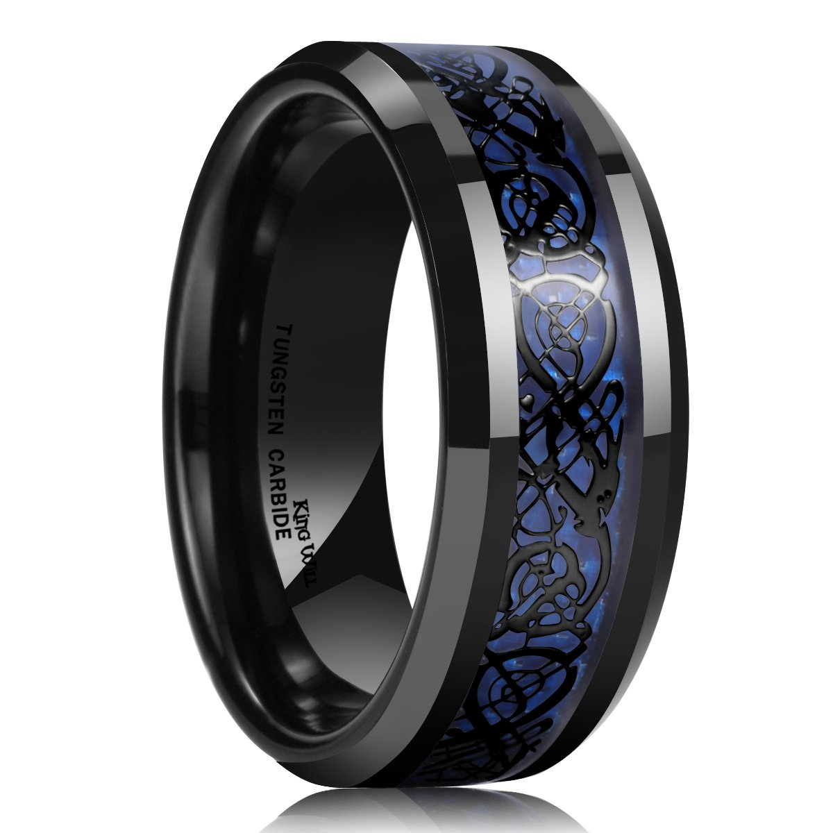 King Will Dragon Men's 8mm Blue Carbon Fiber Black Celtic Dragon Tungsten Carbide Ring Wedding Band(10)
