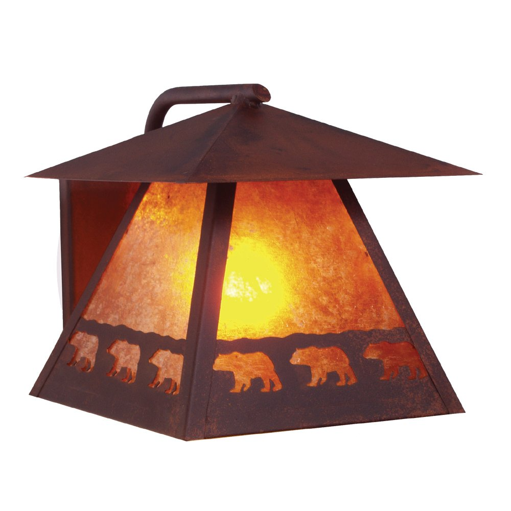 Steel Partners Lighting 9110-OI BAND OF BEARS WetLo Sconce with Amber Mica Lens, Old Iron Finish