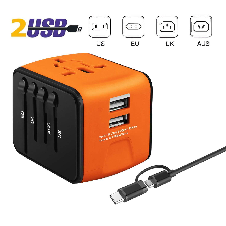 Amarillo iVoler Adaptador Enchufe de Viaje Universal Cargador Internacional con MAX 2.4A Dos Puertos USB y Seguridad de Fusibles para US EU UK AU Japon Asia /África M/ás de 150 Pa/íses