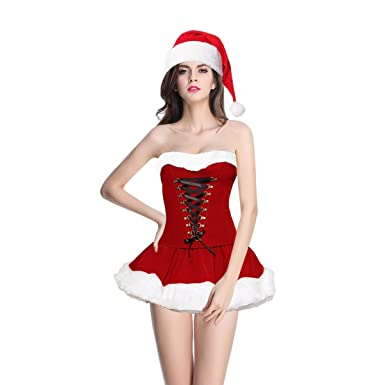 e789b7158a Quesera Womenu0027s Christmas Lingerie Holiday Costume Corset Skirt Santa  Dress RED Tag Size 4 Sc 1 St Amazon.com
