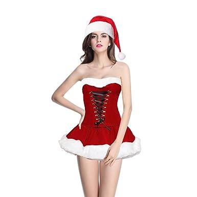 9e757861d Quesera Women s Christmas Lingerie Holiday Costume Corset Skirt Santa  Dress