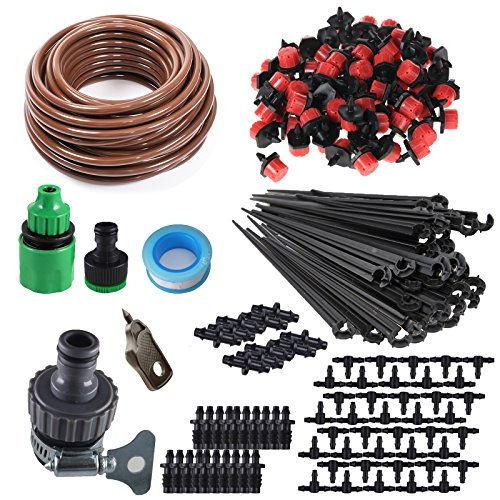 KORAM 100ft 1/4 Blank Distribution Tubing Irrigation Gardener's Greenhouse Plant Cooling Suite Watering Drip Repair and Expansion Kit Accessories include Universal Spigot Connector IR-2F