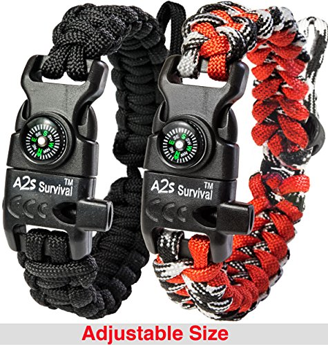 A2S Protection Paracord Bracelet K2-Peak  Survival Gear Kit with Embedded Compass, Fire Starter, Emergency Knife & Whistle (Black / Red Adjustable Size)