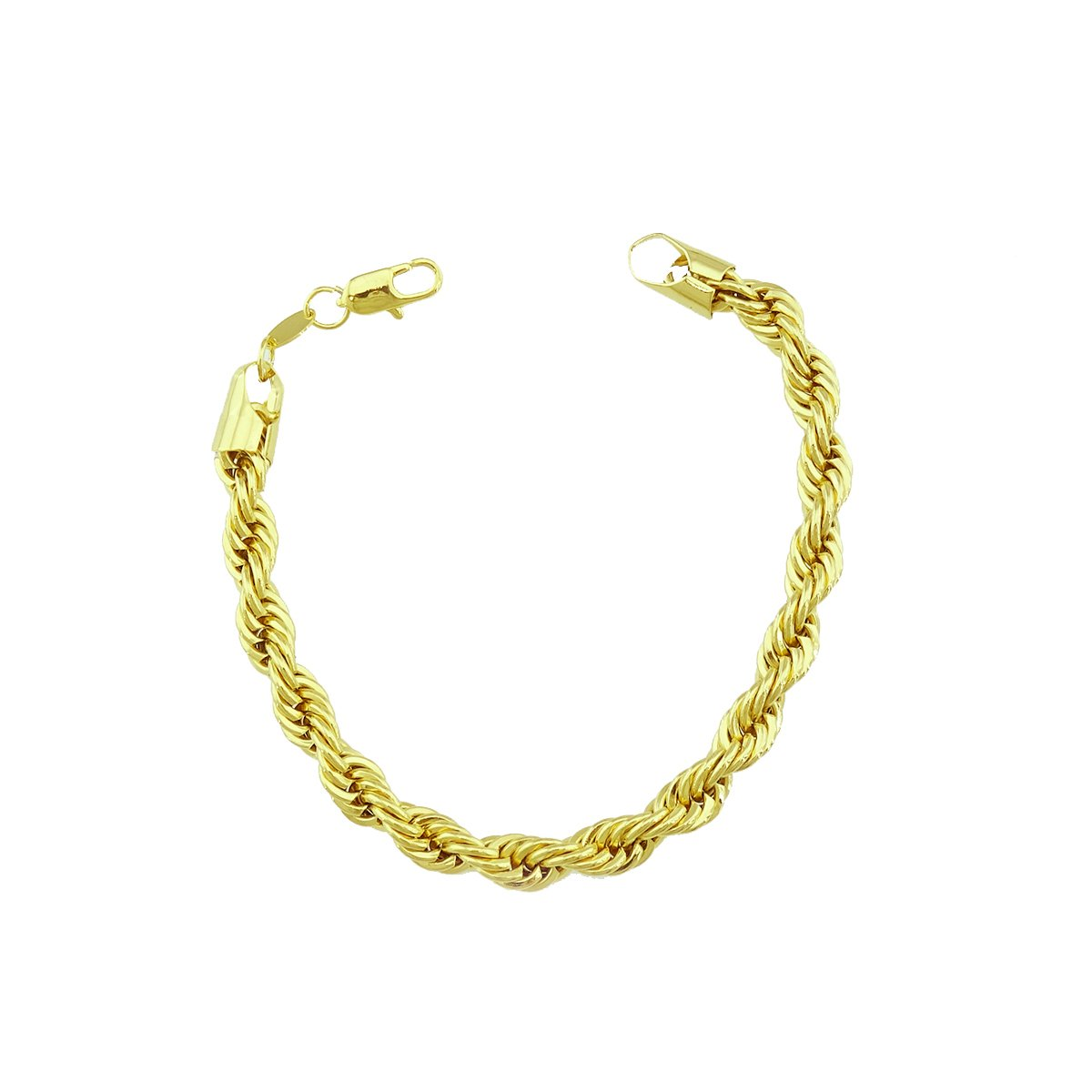 Passage 7 18K Real Gold Plated Rope chain Link Bracelet For Man 4mm Wide
